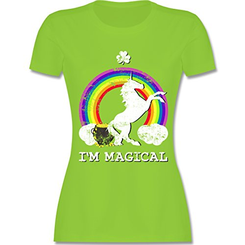 Shirtracer St. Patricks Day - I'm Magical Einhorn St. Patricks Day Vintage - Damen T-Shirt Rundhals Hellgrün