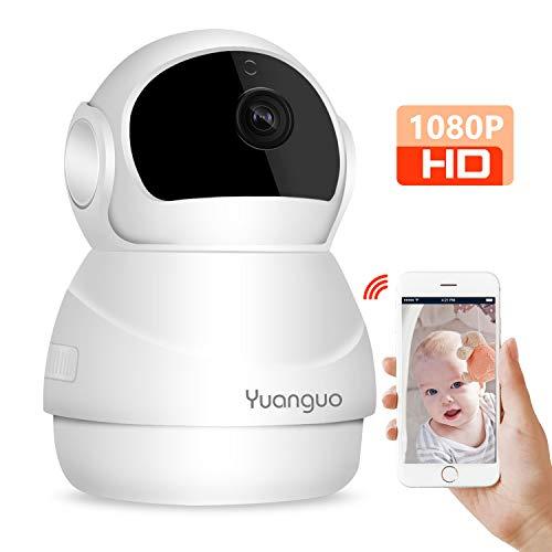 Yuanguo WLAN Überwachungskamera 1080P FHD WLAN IP Kamera mit Bewegungserkennung, Zwei-Wege Audio, Nachtsicht 355°/100°Schwenkbar, Fernalarm und APP Steuerung, Haustier/Home/Baby Monitor