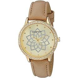 Rampage Women's 'Glitter Flower' Quartz Metal Automatic Watch, Color:Beige (Model: RP1119GDBE)