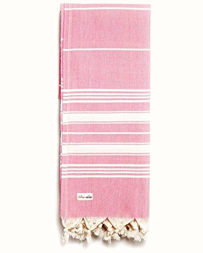 Captain&Mermaid® Premium Strandtuch aus 100% Baumwolle | Badetuch | Handtuch | Yoga | Peshtemal | Sauna Tuch | Hamam Tuch | leicht, dünn & extra saugstark (Rosa)