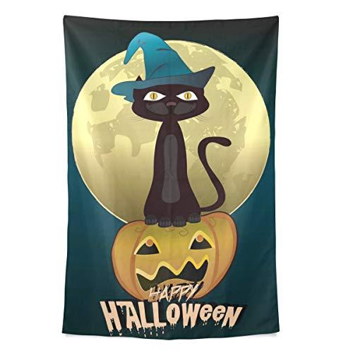 Zemivs Schwarze Katze hexen für Halloween wandteppich wandbehang cool Post Print für wohnheim Hause Wohnzimmer Schlafzimmer tagesdecke Picknick bettlaken 80x60 Zoll