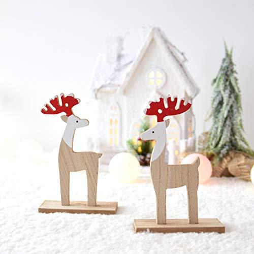 Amosfun Holz Weihnachten Elch Desktop Dekoration Ornamente Kinder Geschenk Home Party Kindergarten Dekor (Stil a) -