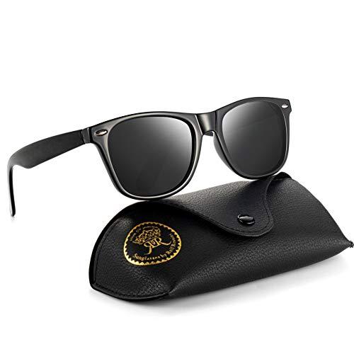 Rocf Rossini Polarisiert Herren Sonnenbrille für Damen klassisch Retro Sonnenbrillen Männer und Frauen Vintage Anti Reflexion UV400 Schutz - Unisex (Schwarz/Grau)