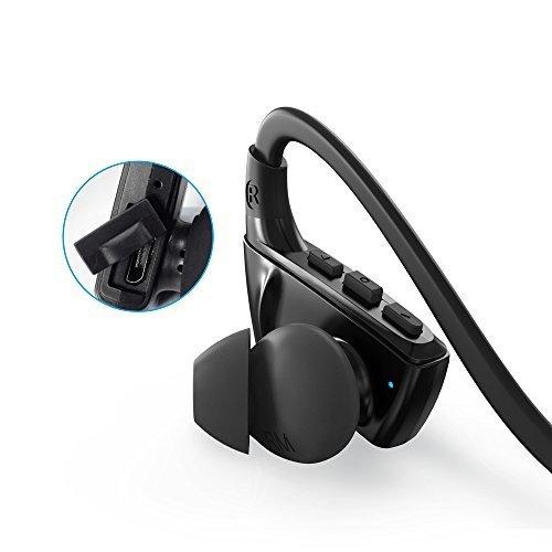 Anker SoundBuds Sport NB10, Bluetooth Kopfhörer, Bluetooth 4.1 Sport Ohrhörer, 12 mm Audio Treiber, IPX-5, Schweißfest, für Ihr Training, Fitness und Joggen(Schwarz) thumbnail
