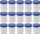 15 Salbendöschen, Creme-döschen, Salbenkruke hoch, 60ml Inhalt mit blauen Deckeln - MADE IN GERMANY