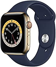 Apple Watch Series 6 (GPS + Cellular, 40mm) - Gold Stainless Steel Case with DeepNavy Sport Band