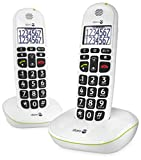 Doro PhoneEasy 110 Telefono Cordless con Tasti Grandi e Audio Amplificato (X 2 / Bianco)