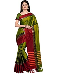 AppleCreation Women's Cotton Silk Saree With Blouse Piece (sarees New Collection KVS131G_Green)