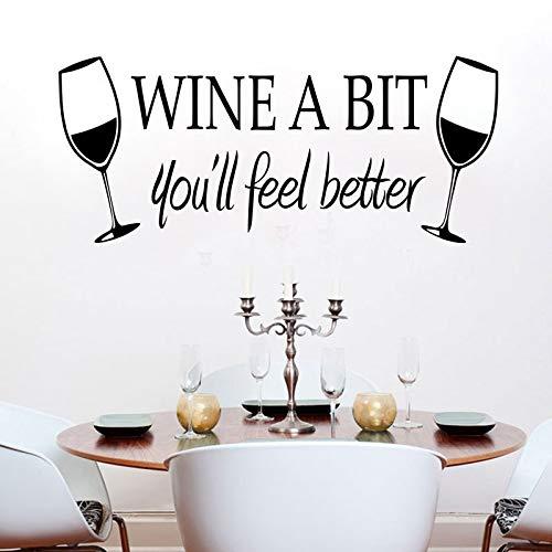 Njuxcnhg Rotwein Glas Aufkleber Wine A BIT Hintergrund Wohnzimmer Schlafzimmer Hintergrund Wohnkultur PVC Generation Wandaufkleber