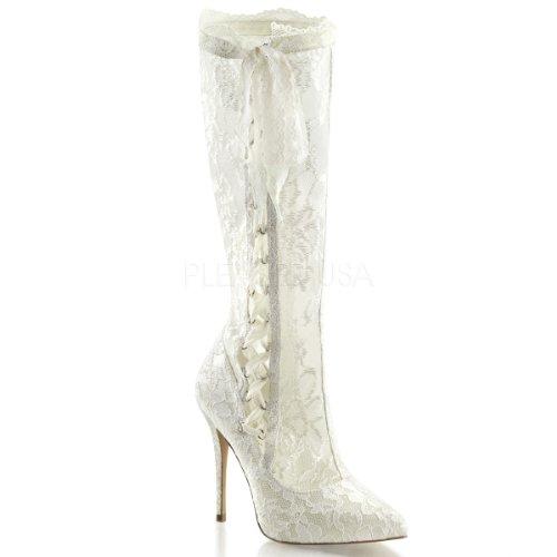 Pleaser Klassische High Heels Stiefel AMUSE-2012, Elfenbein- Satin, 35-42 Ivory Satin-Lace