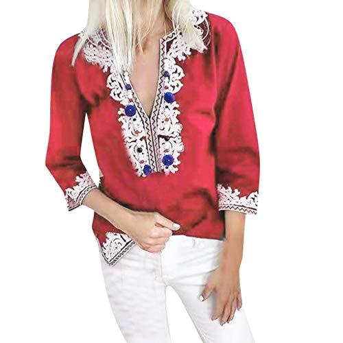 Yvelands Damen T-Shirt Lose halbe Hülse National Style Print Tops Bluse Vintage ethnischen Stil(rot,L)