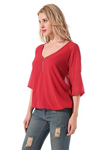 Yidarton Damen Blusen Sommer Party Oberteile Casual V-Ausschnitt Langarm Lose T-Shirt Tops Rot