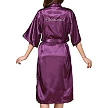 Juleya Mujeres Color Puro Largo Brillo Rhinestone Dama de Honor Kimono Batas Fiesta de Bodas Albornoz