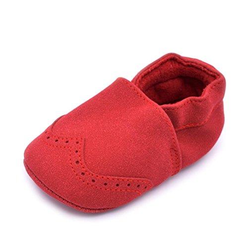 Hunpta Baby Kleinkind Säugling Neugeborenes Prewalker Stiefel Quaste Schuhe weiche Sohle (Alter: 6 ~ 12 Monate, Gray) Rot