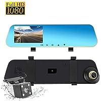 Dash Cam Vista posterior Retrovisor del coche Cámara de respaldo Doble lente, 1080P Full HD Delantero y trasero 4.3 pulgadas 140 ° Vista amplia