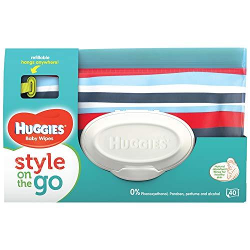 Huggies Baby Wipes Clutch, wiederverwendbare Tasche, 40 Feuchttüchern, farblich sortiert