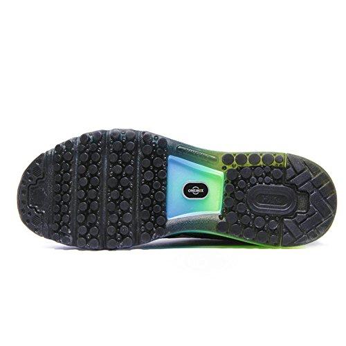 Onemix Herren Air Laufschuhe Sportschuhe mit Luftpolster Turnschuhe Leichte Schuhe Himmel blau grün