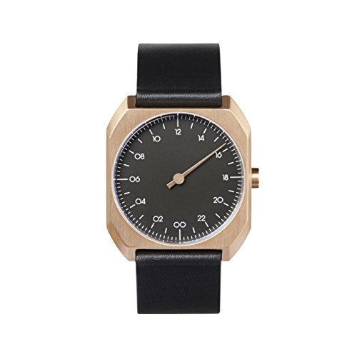 slow Mo 14 - Black leather, Rose Gold Case, Black Dial