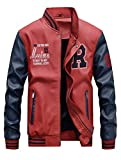 ROBO Baseball Jacke Herren PU Leder Sportjacke mit SAMT Stehkragen Bomber College Classic Übegangsjacke