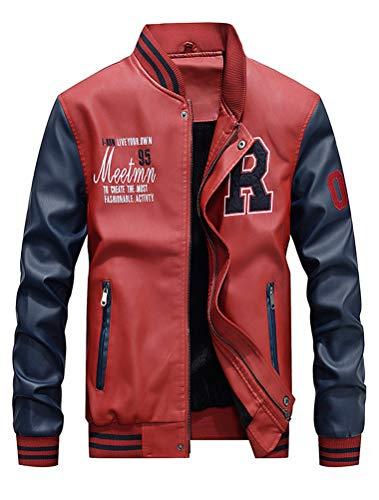 ROBO Baseball Jacke Herren PU Leder Sportjacke mit Samt Stehkragen Bomber College Classic Übegangsjacke (Baseball Lederjacke)
