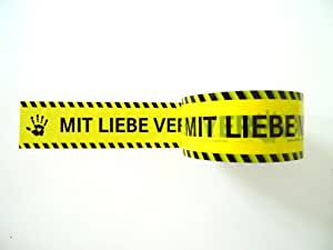 Paketband MIT LIEBE VERPACKT attention yellow