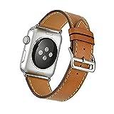 FOTOWELT for Apple Watch Band, Vera Pelle singolo Tour di lusso sostituzione cinghia del cinturino per Apple Osservare iWatch Models 38 millimetri - Marrone