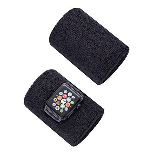 Dee Plus Schweißbänder 2 Stück für Apple Watch 38mm/40mm Sport Wristbands Absorbierende Sweatbands für iWatch Series 4/3/2/1 mit Löchern Adapter & Schutzfolie für Tennis Fußball Basketball Fitness