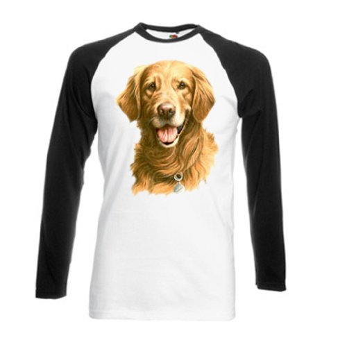Simply Tees Einfach Tees Golden Retriever von millen Erwachsenen Long Sleeve Baseball T-Shirt Gr. Small, Weiß/Schwarz (Golden Retriever Baseball)
