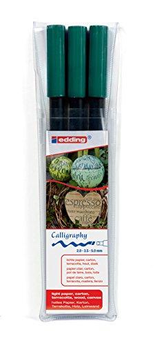edding 1255 Kalligrafie-Stift - Farbe: flaschengrün 3x - Ideal für Kalligraphie und Lettering auf nahezu allen Oberflächen - Made in Germany (Arabische Kalligraphie-stift)