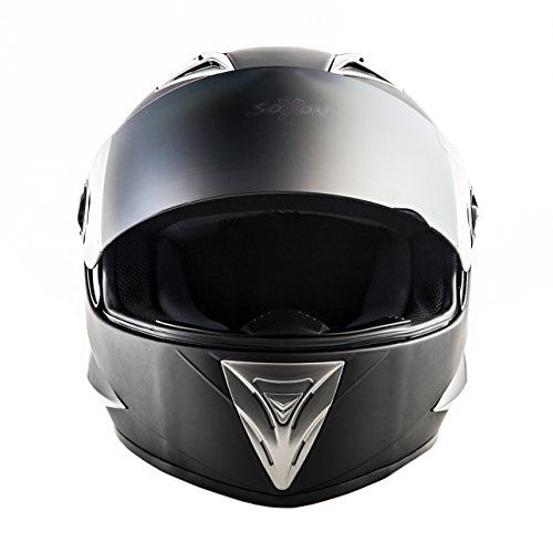 SOXON ST-550 Fighter · Integral-Helm Scooter-Helm Urban Motorrad-Helm Roller-Helm Cruiser Sport Helmet Sturz-Helm · ECE zertifiziert · inkl. Sonnenvisier · inkl. Stofftragetasche · Schwarz · XS (53-54cm) - 4