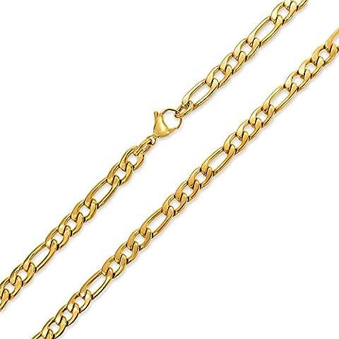 Bling Jewelry Mens acciaio inossidabile placcato oro Figaro Collana catena 7mm