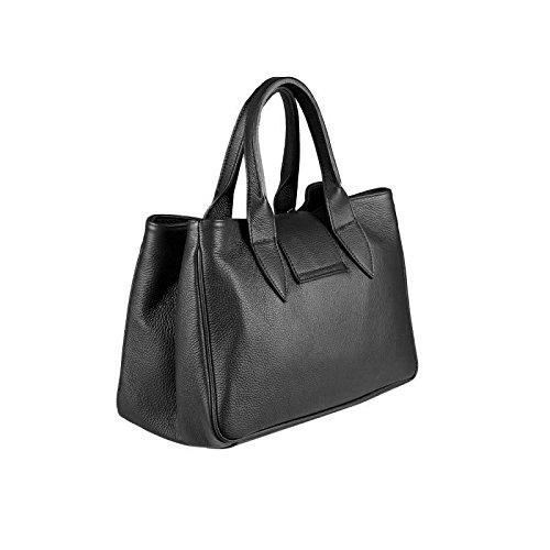 OBC ital Damen Tasche Leder Prägung Shopper Schultertasche Umhängetasche Beuteltasche Handtasche Tablet/Ipad 10 Zoll (Cognac (LackLeder)) Schwarz