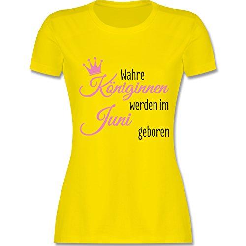 Geburtstag - Wahre Königinnen werden im Juni geboren - tailliertes Premium T-Shirt mit Rundhalsausschnitt für Damen Lemon Gelb