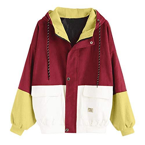 Coats Damen,KIMODO Mode Frauen Langarm Cord Patchwork Oversize Jacke Windbreaker Mantel Frühling Herbst Winter Stilvoll Bequem Outwear (Rot, XL)