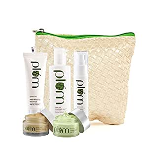 Plum Green Tea Face Care Kit With Kit Bag and Plum Green Tea Renewed Clarity Night Gel | For Oily, Acne Prone Skin | Green Tea Extracts | Deep Exfoliation | Ultra-Hydration |100% Vegan, Cruelty Free
