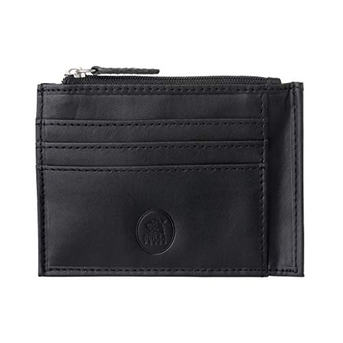 Nuvola Pelle Petit Porte-Carte de crédit pour Homme et Femme en Cuir avec Fermeture éclair Zip et Porte-Monnaie Noir