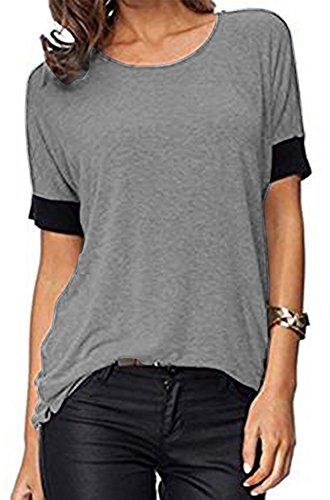 ELFIN® Frauen Damen T-Shirt Rundhals Kurzarm Ladies Sommer Casual Oberteil Locker Bluse Tops - weiches Material - sehr angenehm zu tragen (SV6PO6JR) Angenehmes Material
