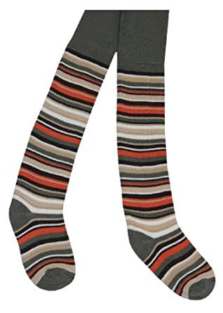 2 Paar Kinder Ringel Thermo Strumpfhose für Jungen und Mädchen in verschiedenen Farben Farbe Khaki Größe 110/116