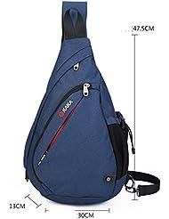 Nueva lona gran capacidad pecho Pack hombros uno macho fino triángulo paquete versión coreana cae paquetes aumento pecho Pack , blue increase