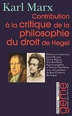 Contribution à la critique de la philosophie du droit de Hegel de Karl Marx
