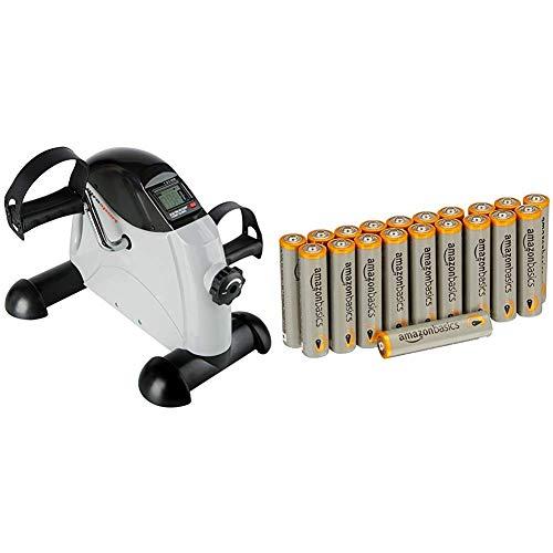 Ultrasport Mini Bike , Arm- und Beintrainer, Heimtrainer, Minifahrrad, MB 100 & AmazonBasics Performance Batterien Alkali, AAA, 20 Stück (Design kann von Darstellung abweichen)