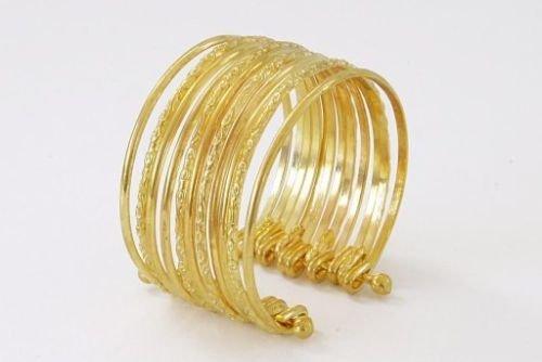Armreifen Indische Kostüm - Panelize 12 goldene Armringe goldenes Armband Armreifen Zigeunerin Bauchtanz Modeschmuck