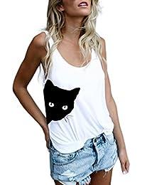 Lilicat Frauen Ärmellos T-Shirt Katze Drucken Mode Weste Damen Tank Top  Beiläufig Bluse O-Ausschnitt T-Shirt Casual Bluse Tunika Sommer… 036747595e