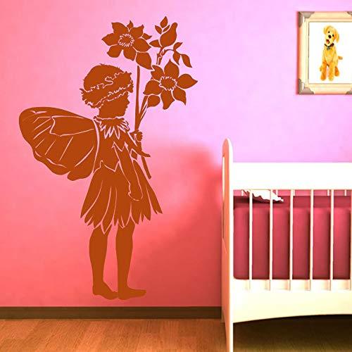 zhuziji Halten Blumen Schmetterlinge Fee Wandaufkleber Baby Schlafzimmer Dekoration Vinyl Abnehmbare Kunstwand Nette Aufkleber Kaffee Farbe 42x66 cm