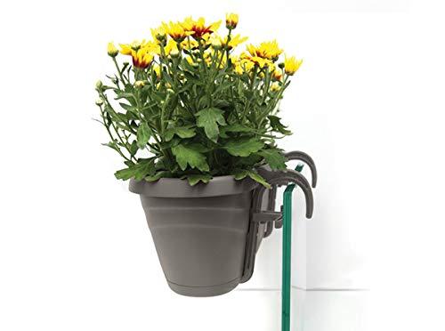 UPP Pot de Fleurs Universel pour clôtures et rampes jusqu'à 6 cm d'épaisseur Protection Contre Les surcharges et l'irrigation grâce à la Terre Auto-régulière 50 x 17 x 16 cm Anthracite