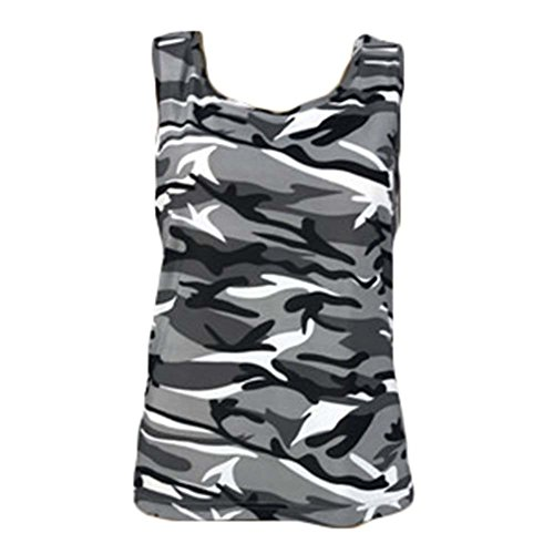 Camicie da donna Camouflage Military Fashion Sleeveless vest Top Grigio