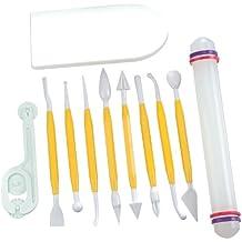 PME Arts&Crafts HW380 Torten-Set - Modellierwerkzeug, Teigglätter/-messer/-roller für Torten, Kuchen und Deko, 11-teilig