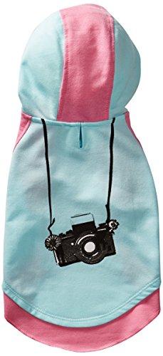 Blueberry Pet 25cm Rückenlänge Hundebekleidung T-Shirt Kleid Baumwolle Kleines Kamera Hunde-Kapuzenshirt in Mintgrün & Hot-Pink, S -