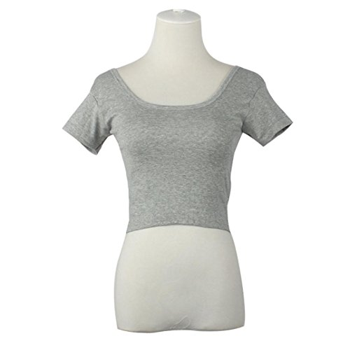 Bellelove Sommer-beiläufige kurze Hülsen-reizvolle Frauen-grundlegende T-Stücke übersteigt beschnittene T-Shirt Bluse (Grau) - Grau Beschnitten Hose