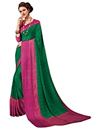 Salwar Studio Women's Green & Pink Georgette With Satin Patta Self Printed Saree With Blouse Piece